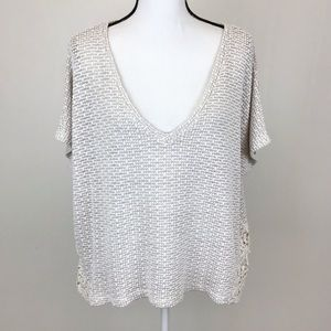 American Eagle Ivory Tan Cropped Sweater C379